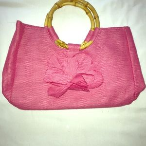 Pink raffia bamboo handle bag